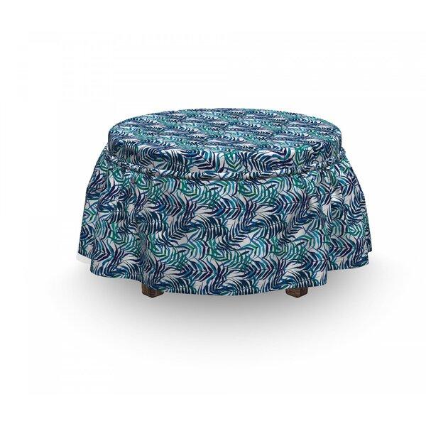 Palm Leaf Tropical Nature Lush 2 Piece Box Cushion Ottoman Slipcover Set By East Urban Home