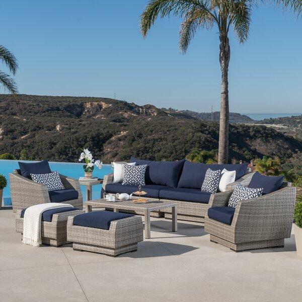 Castelli 8 Piece Rattan Sunbrella Sofa Seating Group with Cushions by Wade Logan