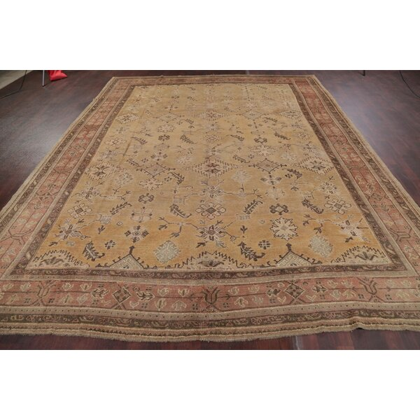 One-of-a-Kind Marcina Hand-Knotted Before 1900 Beige/Brown 10'2 x 13' Wool Area Rug