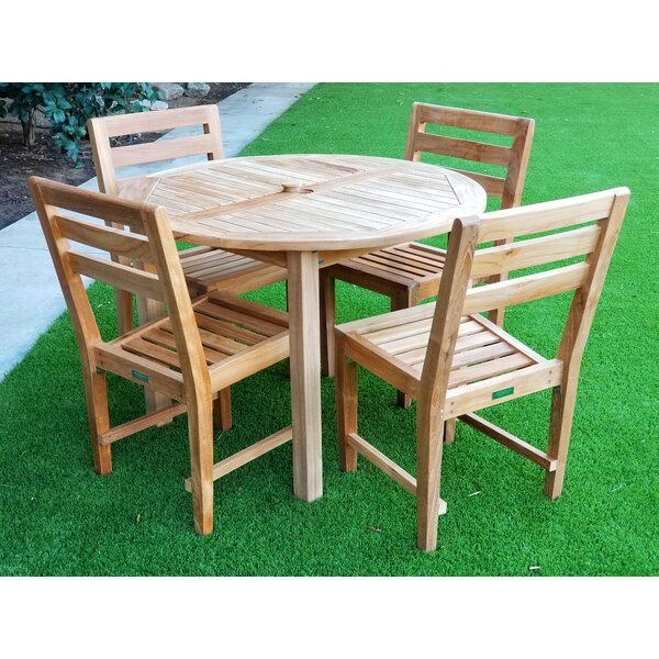 Kraus 5 Piece Teak Dining Set by Bayou Breeze