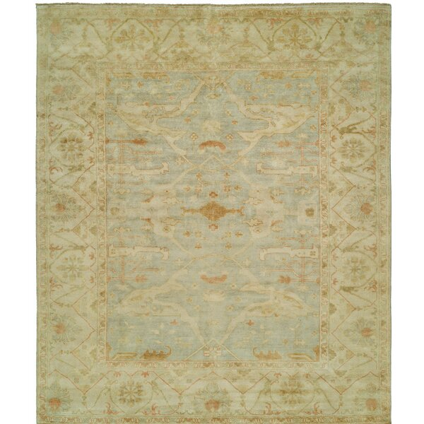 Oushak Hand-Knotted Beige/Blue Area Rug by Shalom Brothers