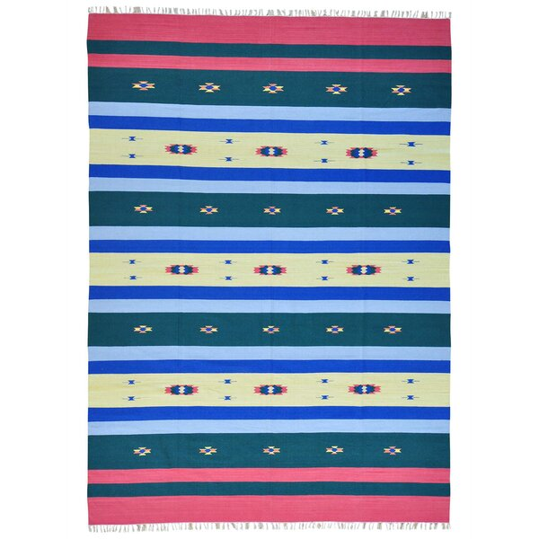 One-of-a-Kind Toles Flat Weave Killim Hand-Knotted Cotton Blue/Beige Area Rug by Millwood Pines