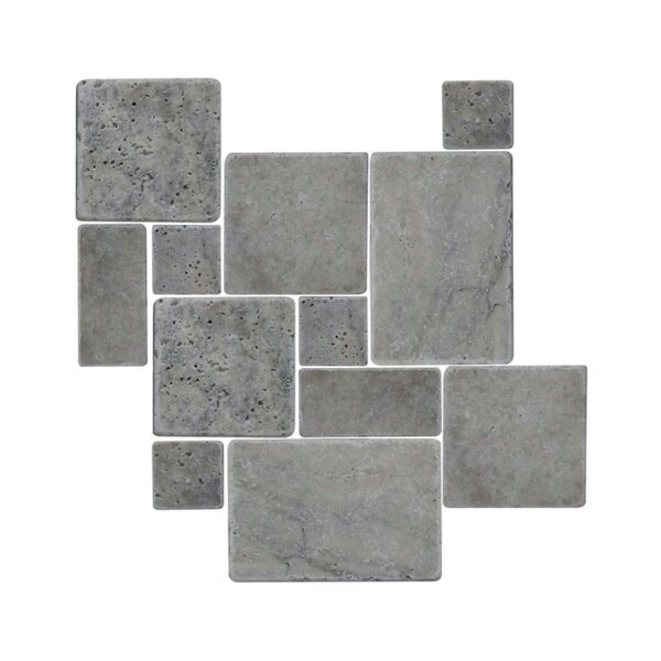 Tumbled 12 x 12 Natural Stone Mosaic Tile in Silver by QDI Surfaces