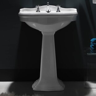 Inexpensive Contea Ceramic 29 Pedestal Bathroom Sink with Overflow ByWS Bath Collections