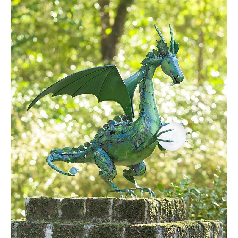Plow & Hearth Dragon Garden Statue with Solar Pearl | Wayfair