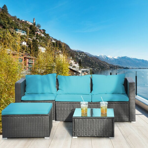 Dayhsaun 4 Piece Rattan Sectional Seating Group with Cushions by Latitude Run