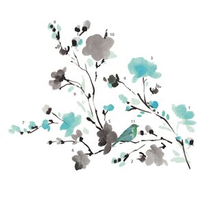deco blossom watercolor bird branch wall decal - Wall Decals