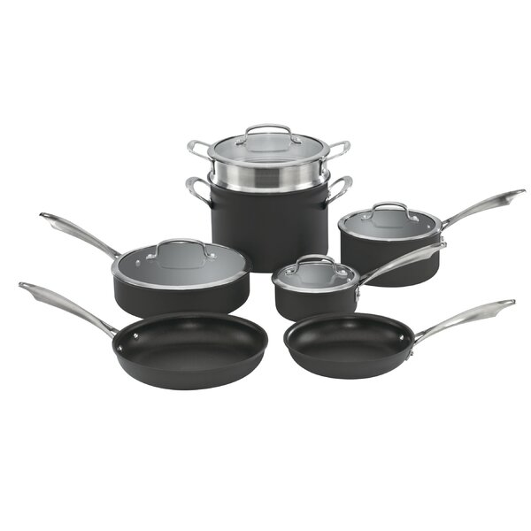 Dishwasher-Safe Hard-Anodized 11 Piece Non-Stick Cookware Set by Cuisinart