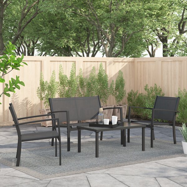 Dania Garden Deck 4 Piece Rattan Multiple Chairs Seating Group by Zipcode Design