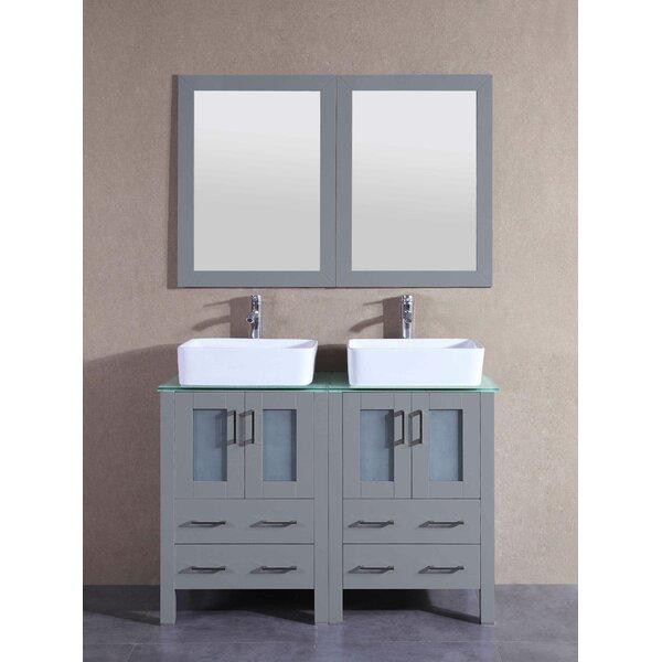 Aria 47 Double Bathroom Vanity Set with Mirror by Bosconi