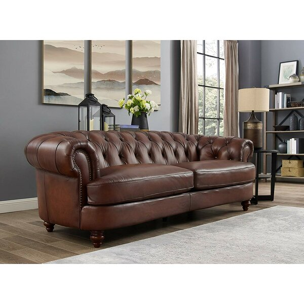 Modern Brand Basso Leather Sofa by Alcott Hill by Alcott Hill