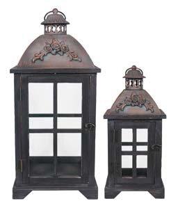 Decorative Metal/Wood Lantern (Set of 2) by Canora Grey
