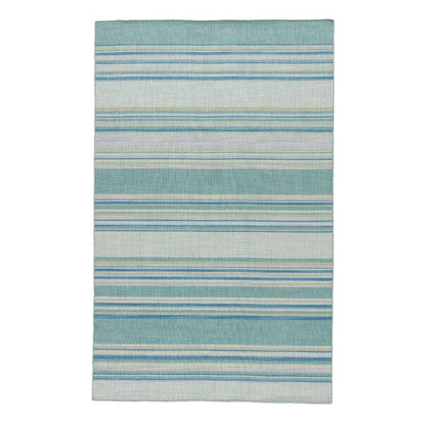 Swans Island Blue Stripe Area Rug by Breakwater Bay