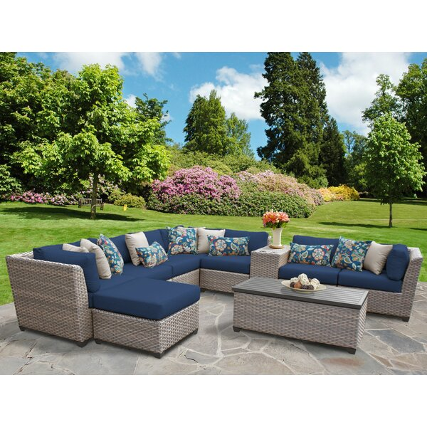 Meeks 10 Piece Rattan Sectional Seating Group with Cushions by Rosecliff Heights