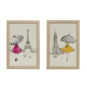 'A Funday Stroll' 2 Piece Framed Graphic Art Print Set on Canvas by Rosdorf Park