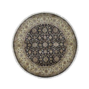 One-of-a-Kind Bianco Hereke Oriental Hand-Knotted 8' x 8' Wool Black Area Rug by Astoria Grand