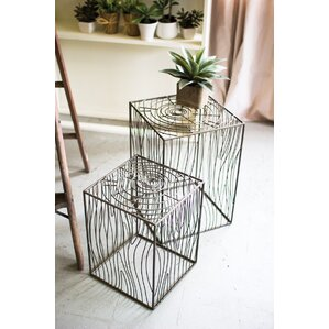 Bloomsbury Market Maisie Wire Woodgrain 2 Piece Nesting Tables