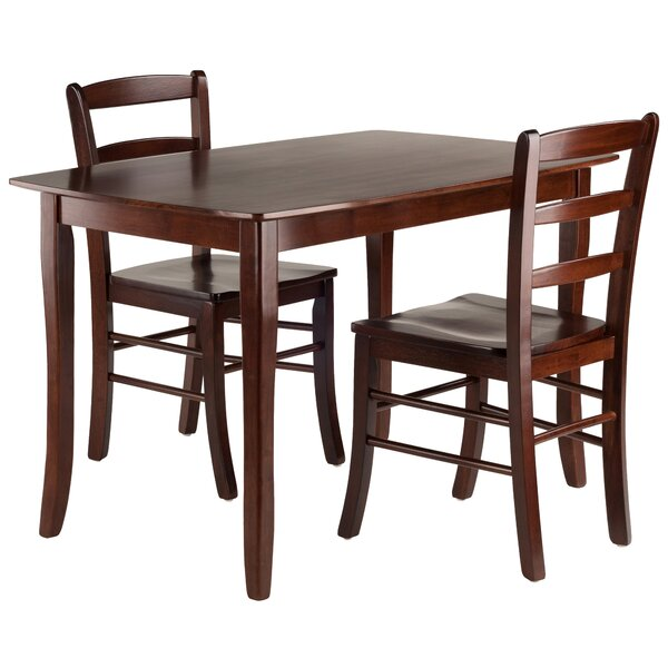 Shuman 3 Piece Solid Wood Dining Set by Red Barrel Studio