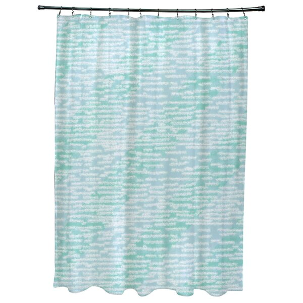 Cedarville Marled Knit Stripe Geometric Print Shower Curtain by Highland Dunes