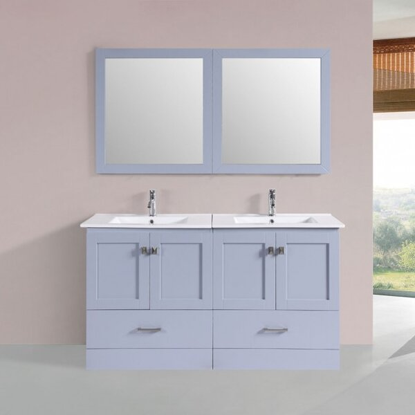 Landrum Modern 60 Double Bathroom Vanity Set with Mirror by Latitude Run