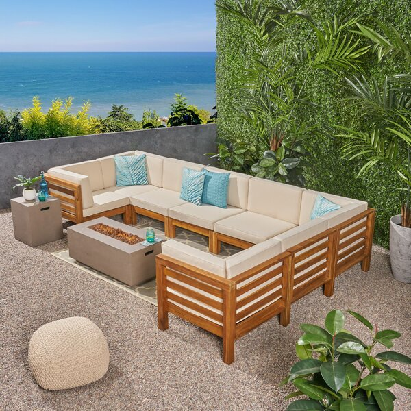 Galindo Outdoor 10 Piece Sectional Seating Group With Cushions By Rosecliff Heights