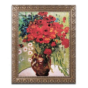 'Daisie and Poppies' by Vincent Van Gogh Framed Painting Print by Trademark Fine Art