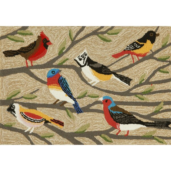 Ismay Birds Tufted Cream/Black Indoor/Outdoor Area Rug