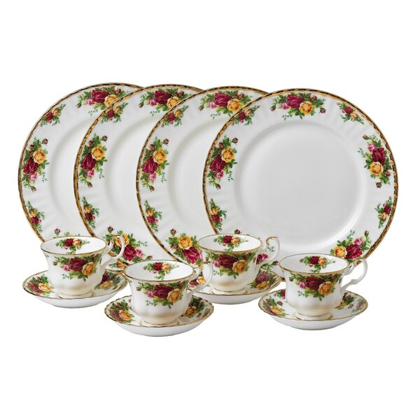 Old Country Roses Bone China 12 Piece Dinnerware Set, Service for 4 by Royal Albert