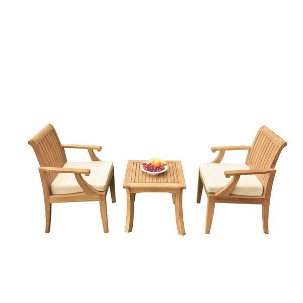 Malvina 3 Piece Teak Bistro Set by Rosecliff Heights