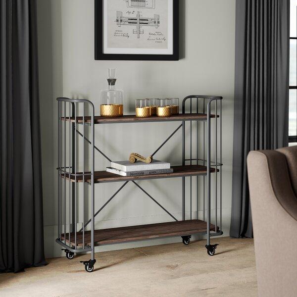 Kendleton 3 Tier Rectangular Wood Shelf Metal Bar Cart by Greyleigh