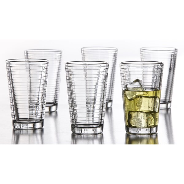 Uptown 14 oz. Glass Every Day Glass (Set of 6) by Style Setter