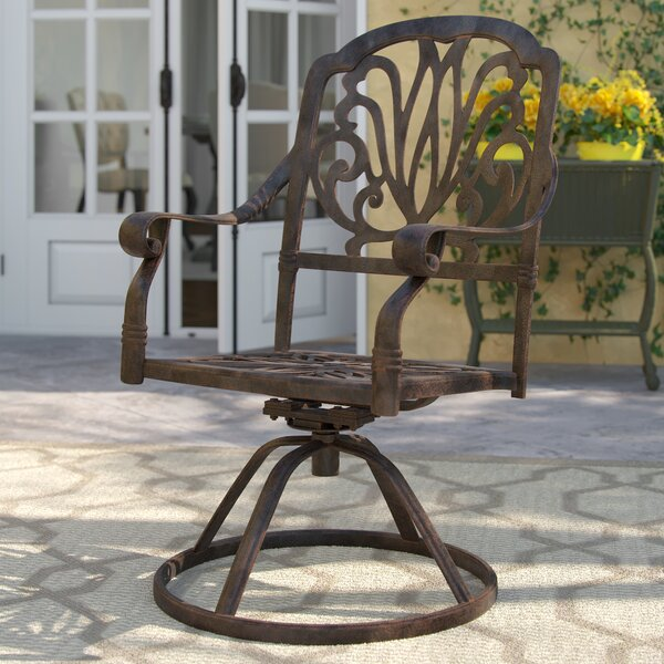 Lebanon Swivel Patio Dining Chair with Cushion by Three Posts