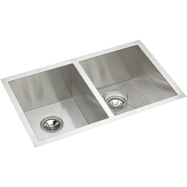 Crosstown 31 L x 19 W Double Basin Undermount Kitchen Sink with Grid and Drain Assembly by Elkay