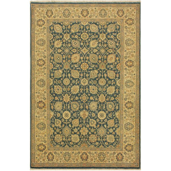One-of-a-Kind Abagail Turkish Hand-Knotted Wool Teal Blue/Ivory Area Rug by Isabelline