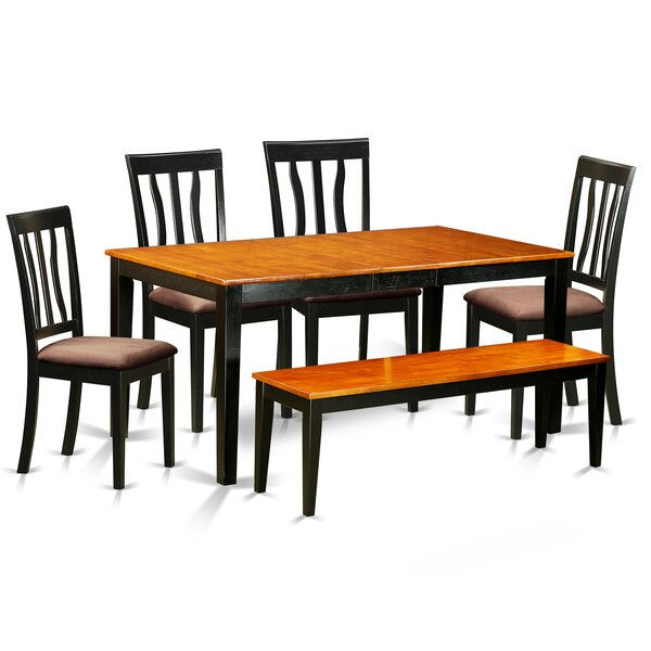 6 Piece Extendable Dining Set by East West Furniture