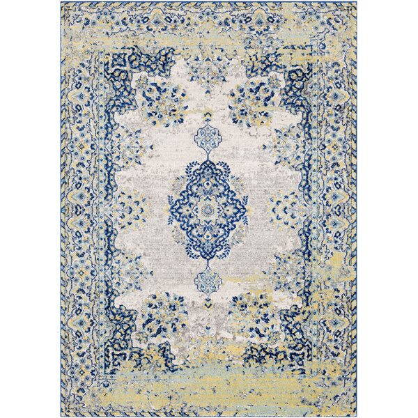 Altamirano Distressed Navy/Yellow Area Rug by Bungalow Rose