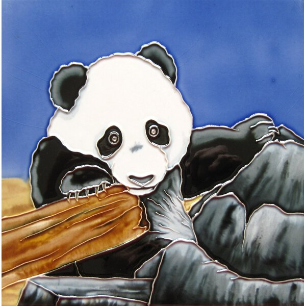 4 x 4 Ceramic Panda Decorative Mural Tile by Continental Art Center