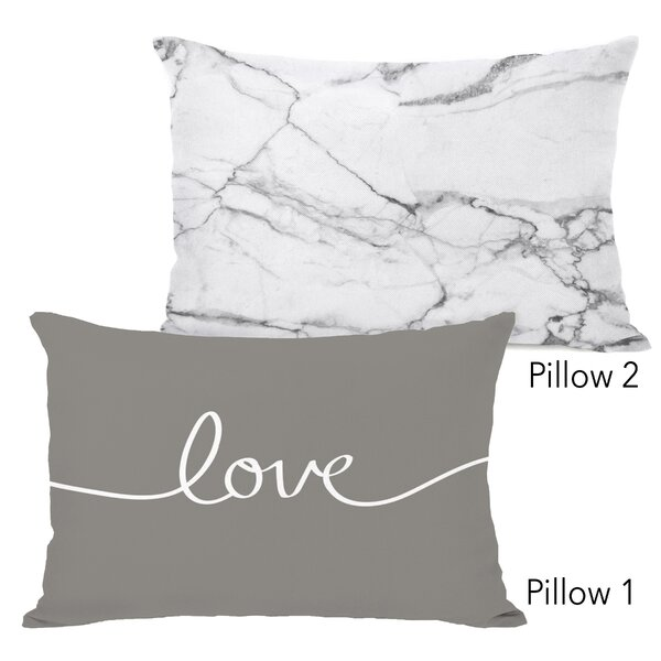 Detroit Love Marbled 2 Piece Lumbar Pillow Set by Mercer41