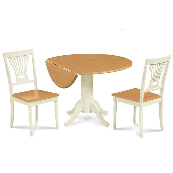 Adelyte 3 Piece Drop Leaf Solid Wood Dining Set by August Grove