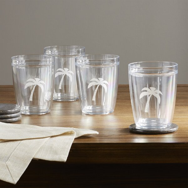 Buzice Palm Tree Plastic Every Day Glass (Set of 4) by Latitude Run