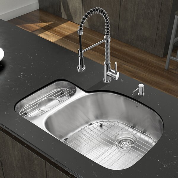 32 inch Undermount 80/20 Double Bowl 18 Gauge Stainless Steel Kitchen Sink with Edison Chrome Faucet, Grid, Two Strainers and Soap Dispenser by VIGO