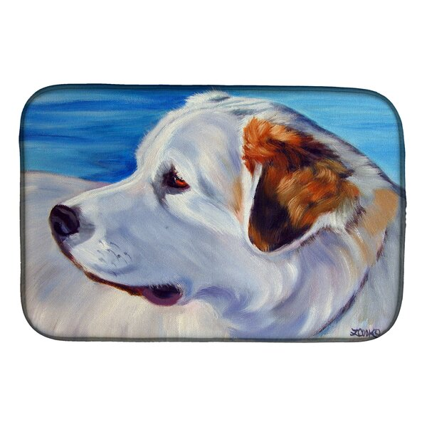 Great Pyrenees at the Beach Dish Drying Mat by Caroline's Treasures