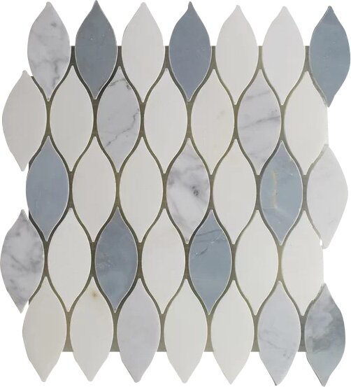Elongated Tear Drop-Pure Carrara Wall 12 x 10.8 Natural Stone Mosaic Tile in White/Blue by Seven Seas
