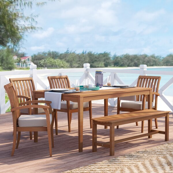 Moana 6 Piece Dining Set with Cushions by Beachcrest Home