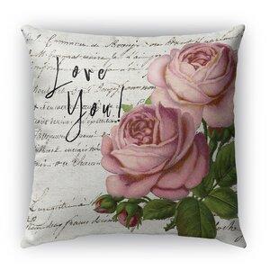 Love You Burlap Indoor/Outdoor Throw Pillow