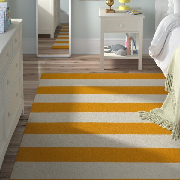 Ike Hand-Woven Yellow/White Area Rug by Viv + Rae