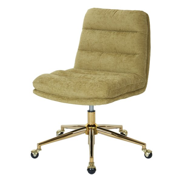 Manhattan Upholstered Tufted Mid-Back Office Chair by Greyleigh