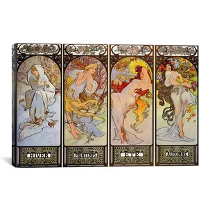 'Les Saisons' by Alphonse Mucha Graphic Art on Canvas by iCanvas
