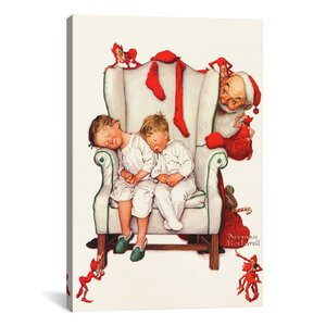 'Santa Looking at Two Sleeping Children' by Norman Rockwell Graphic Art by Three Posts