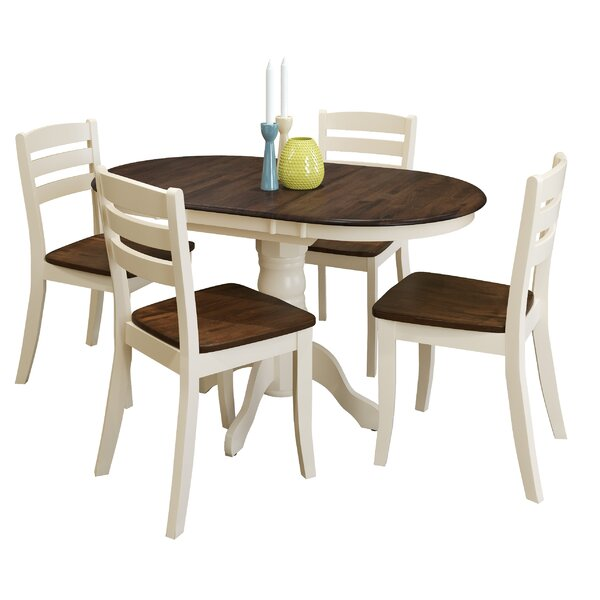 Pico 5 Piece Extendable Solid Wood Dining Set by Alcott Hill Alcott Hill